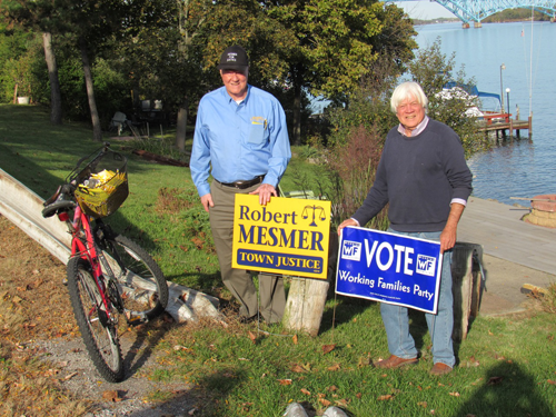 Bob Mesmer, left, town justice candidate, is pictured with Roger Cook, WNY Working Families Party, executive board member.