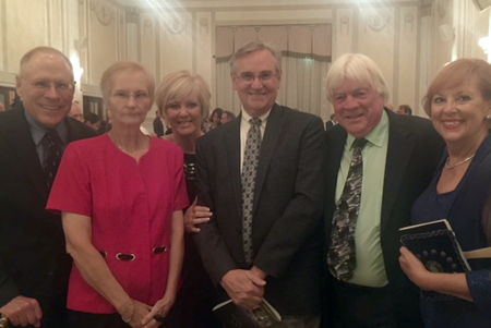 Islander Paul Leuchner, far left, was the guest of honor Sept. 20 at the Western New York Land Conservancy Gala. He was recognized for his efforts in helping preserve what will be called the Martha Gallogly Nature Sanctuary off Whitehaven Road. Joining him were, second from left: Paul's wife Linda Leuchner, Cindy Sharpe, Jim Sharpe, Roger Cook and Councilwoman Beverly Kinney. (Photo by Larry Austin)