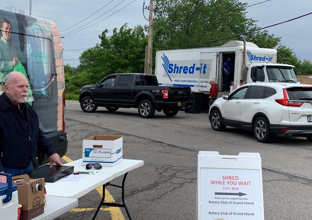 Rotarian Dan Flaim awaits customers for the Rotary Club's Shred-It event in 2019.