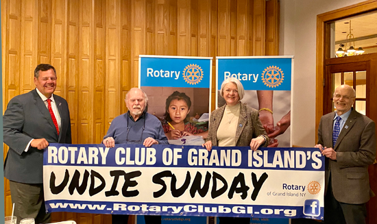 Pictured are Rotary Club of Grand Island Undie Sunday Committee members, from left: Michael J. Billoni, Dan Flaim (treasurer), Sherry Miller (president-elect); Richard Earne (president).