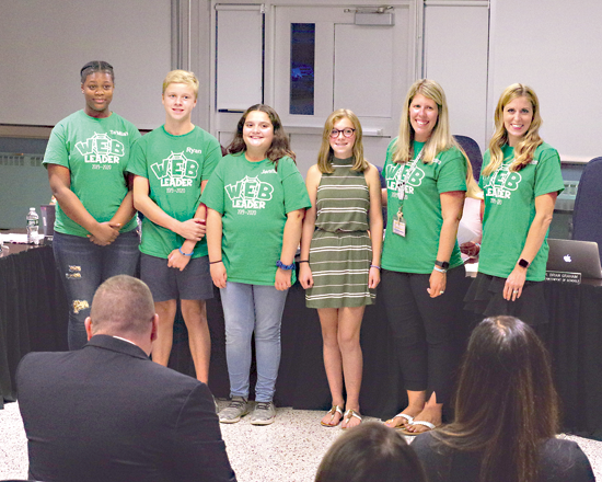 Students and teachers involved in the Veronica Connor Middle School Program WEB (Where Everyone Belongs) explained the new program to the Grand Island Board of Education Monday. (Photo by Larry Austin)