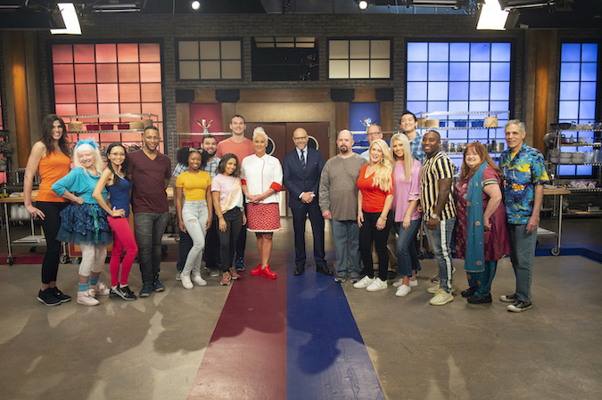 Chefs Anne Burrell and Alton Brown and recruits from `Worst Cooks in America.` (Food Network photo)