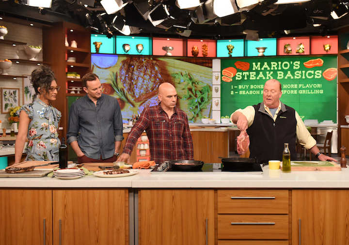 `The Chew` hosts Carla Hall, Clinton Kelly, Michael Symon and Mario Batali. (ABC photo by Paula Lobo)