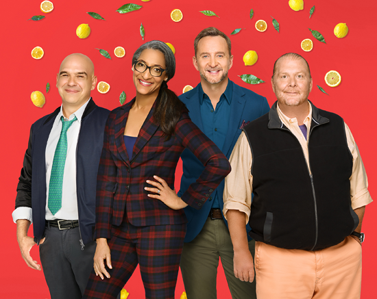 `The Chew`: Hosts Michael Symon, Carla Hall, Clinton Kelly and Mario Batali. (ABC photo by Craig Sjodin)