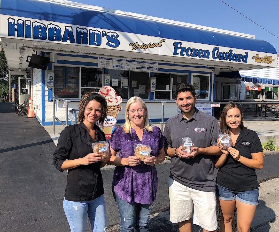 Pictured, from left, holding the new Hibbard's Original Frozen Custard cookie sandwiches, are Aimee Loughran, Kris Trunzo, Mike and Lindsay Fiore.