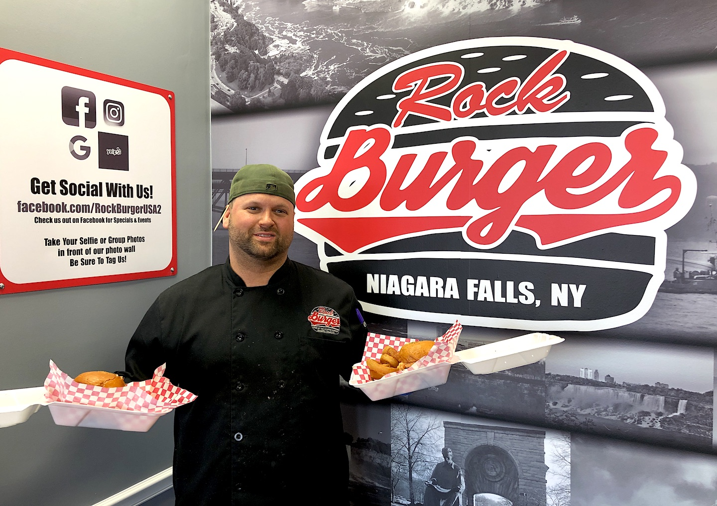 Jason Lizardo poses with some of his Rock Burger items, which also are shown below.
