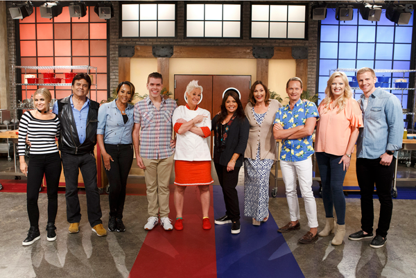 Anne Burrell and Rachael Ray pose with the celebrity competitors on Food Network's Worst Cooks in America. (Food Network photo)
