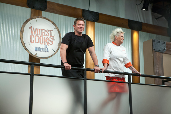 Tyler Florence and Anne Burrell watching over the recruits on Food Network's Worst Cooks in America. (Food Network photo)