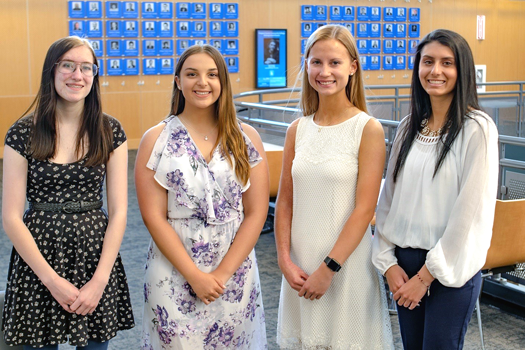 Distinguished student scholarship honorees are, from left: Erika Vincent (Lewiston-Porter), Allura Taylor (Lewiston-Porter), Ashley Hill (Royalton-Hartland) and Gabriela Bonura (Niagara Wheatfield). Honorees not pictured: Jenna Klino (Royalton-Hartland) and Aimee Jo Maskell (Lockport).