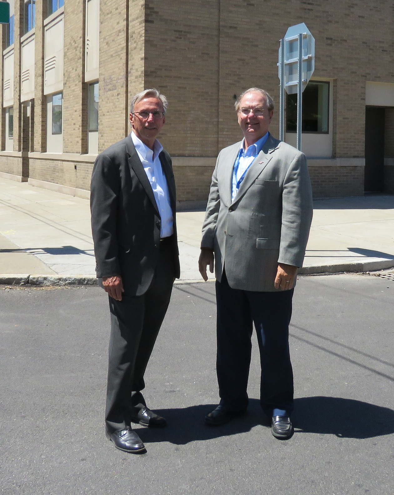 From left, Joe Steinmetz and Dr. Clark Godshall stand outside of the new center on the corner of 6th Street and Walnut Avenue. (Photos by David Yarger)