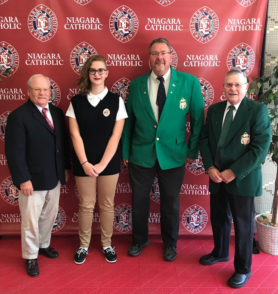 Pictured from left: Niagara Catholic President/Principal Bob Cluckey, AOH Scholarship recipient Courtney O'Gara, AOH President Kevin O'Brien and Chairman James Andrews.