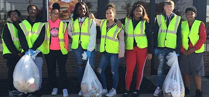 Students from NCCC's Future Leaders program participate in community clean-up event.