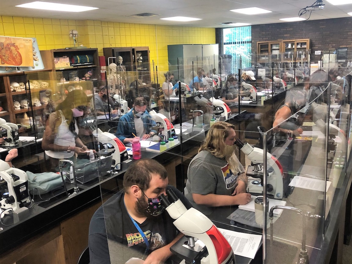 One of NCCC's science labs (C-208) that has been outfitted with Lexan to create a `single-occupancy` work area for each student in the lab. Beginning Wednesday, students returned to campus to take lab classes for the summer semester.
