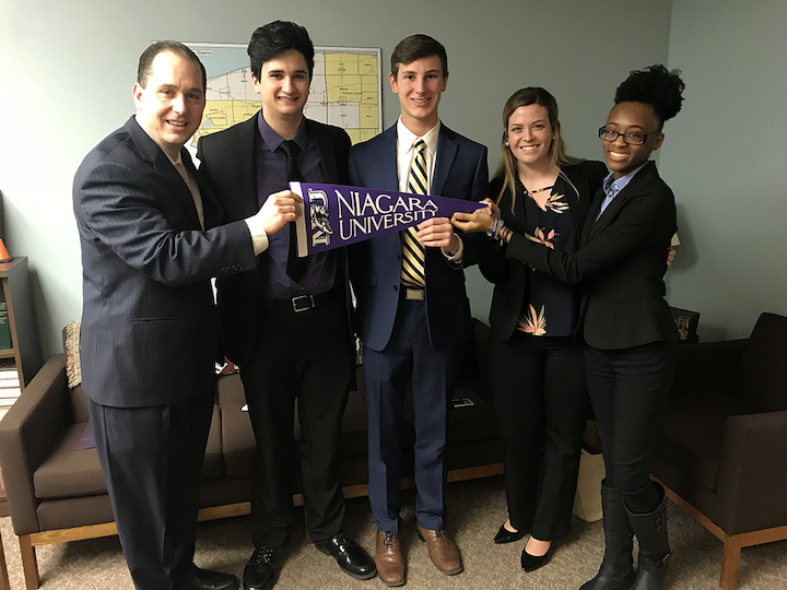 Pictured at New York Student Aid Alliance Advocacy Day with New York Assemblyman (and 1998 Niagara University alumnus) Michael J. Norris, left, are NU students Noah Hubbel, Liam Donovan, Mary McCormick and Joi-Alexis Johnson.
