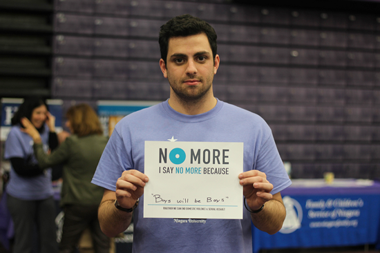Niagara University students and alumni are holding an event May 11 to raise funds for the Nicholas Albano Memorial Scholarship. Albano, pictured here at NU's `Take Back the Night` event in 2017, died unexpectedly last summer.