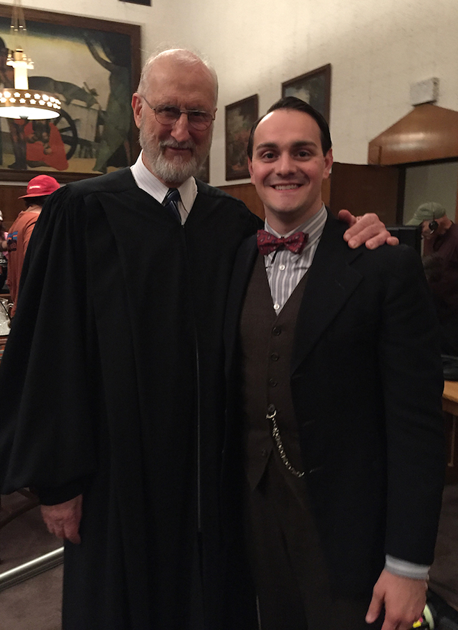 Niagara University artist-in-residence Adriano Gatto is pictured with actor James Cromwell on the set of `Marshall.`