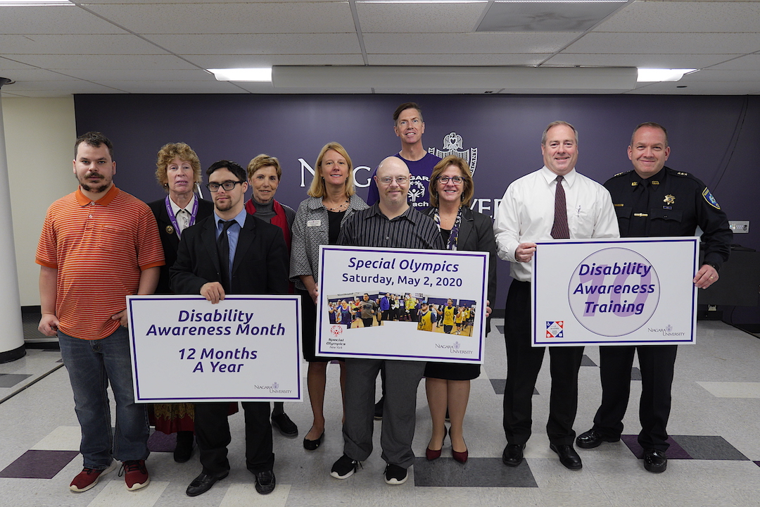Niagara University officials and members of the community celebrate the disability awareness work that the university promotes all year long.