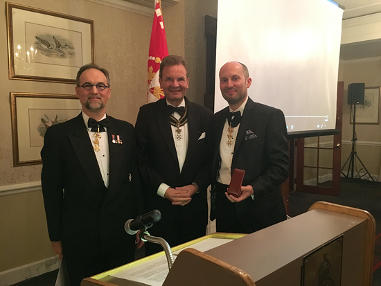 Pictured, from left, are Andre Morin, president of the Canadian Association of the Order of Malta; Albrecht Freiherr von Boeselager, grand chancellor of the order; and Dr. Christian Elia.