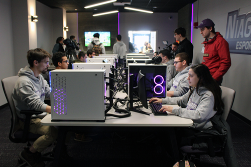 The Niagara University ESports teams compete in the Nest lounge on campus. (Images courtesy of Niagara University)