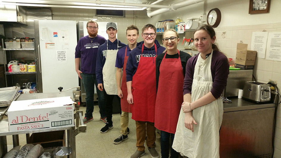 Niagara University students John Callahan, Justin Crawford, Michael Pearl, Jacob Tucker, Sunny Pechulis and Reilley Larkin pitched in at Community Missions of Niagara Frontier as part of Giving Tuesday on Nov. 28.