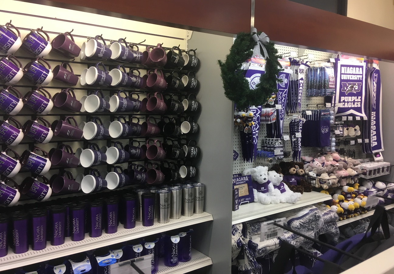 The Niagara University School store prepares for gift shopping during the holiday season.