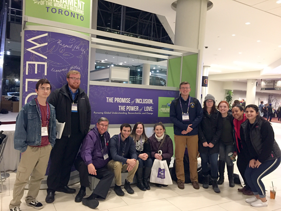 NU students Connor Lynch, John Callahan, Nathan McCabe, Mikayla Fulton, Marina Muth, Douglas Urban, Ashley Edwards, Rachel Farrell, Hannah Ghebrihiwet and Marissa Belardi, along with their professor, the Rev. Joseph Hubbert, C.M., attended the Parliament of the World's Religions in Toronto on Nov. 4.