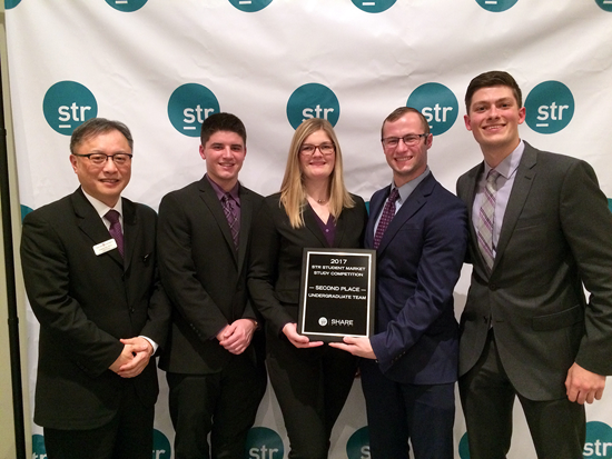 Pictured holding their award from this year's Smith Travel Research Market Study Competition are, from left, Dr. Chang Huh, Jeffrey Rector, Lorena Kleideiter, Jacob Carriero and Matthew Bell.
