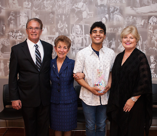 Pictured, from left: Donald Laurie; Dr. Sharon Watkinson, chair of Niagara University's theater department; Tara Laurie Memorial Scholarship for Study Abroad recipient Elijah Vazquez; and Janice Laurie.