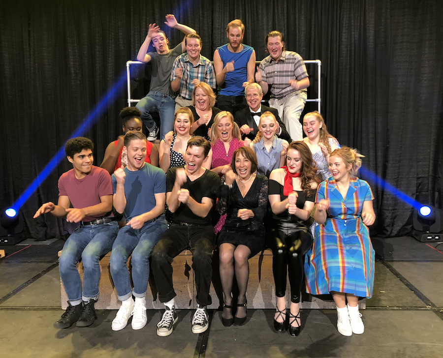 Niagara University Theatre students, alumni and faculty do the hand jive with Didi Conn (front row, third from right), who played Frenchy in the film version of the musical `Grease.`