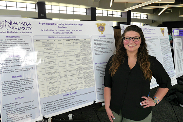 Ashleigh Miller's study on the `Psychological Screening in Survivors of Pediatric Cancers` was one of 112 student projects presented during Niagara University's annual undergraduate research conference on April 27. Miller launched the study two years ago after losing a friend to suicide.