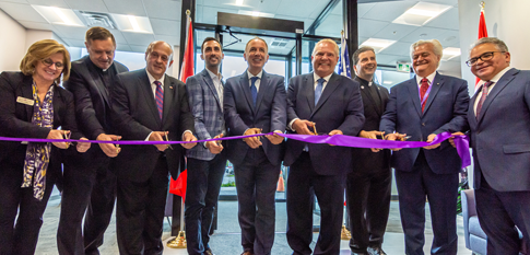 Officials from Niagara University and the Province of Ontario cut the ribbon to officially unveil Niagara's permanent location in the City of Vaughan.
