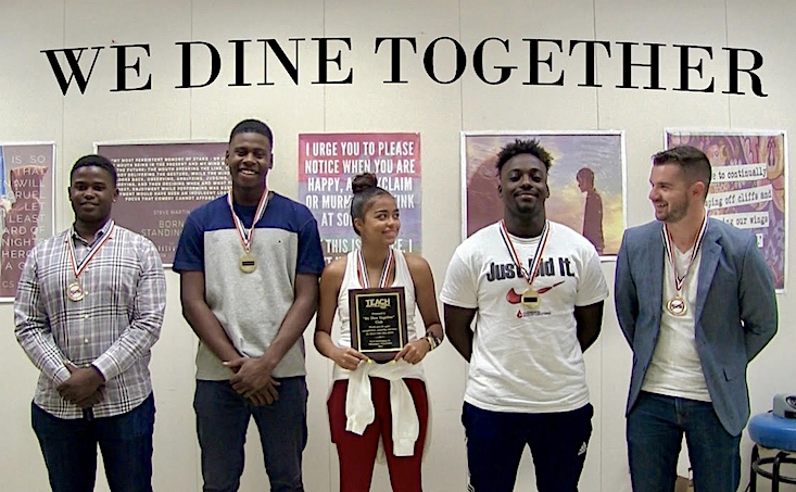 Niagara University graduate Jordan Hernandez, far right, is pictured with student-leaders of the We Dine Together club at Boca Raton Community High School. The club was featured by CNN and MassMutual as part of a campaign that highlighted positivity, courage and kindness.