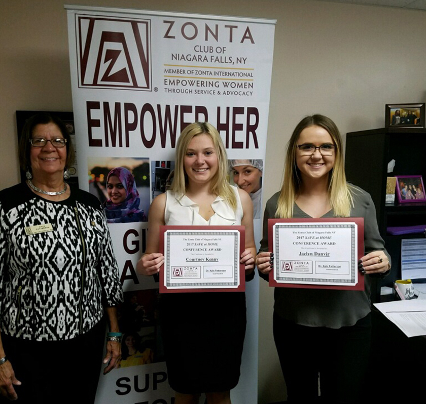Dr. Kyle Patterson, president of the Zonta Club of Niagara Falls, is pictured with Niagara University criminal justice majors, from left, Courtney Kenny and Jaclyn Danvir. Kenny and Danvir are the recipients of Zonta's Safe at Home Conference Award for 2017.