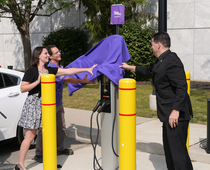 Niagara University's offers electric vehicle charging stations in front of the Castellani art Museum. They were unveiled in 2017 by Katelyn Ruszkowski, a graduate student and member of the NU Goes Green club; Dr. Mark Gallo, professor of biology and co-chair of the sustainability committee; and the Rev. James J. Maher, C.M., president of NU.