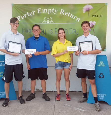 2018 recipients of the Porter Empty Return Eco-Echo Award are Wilson High School graduate Chris Watson, left, and Lewiston-Porter grad Michael Allender, far right. They received their $500 scholarships from PERC representatives Sam Irish and Jenna Chesnut.