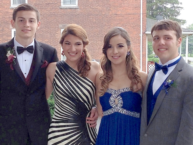 From left: Past Cornerstone CFCU 'Prom Squad' contest winners John, Hannah, Valeria and Josh.