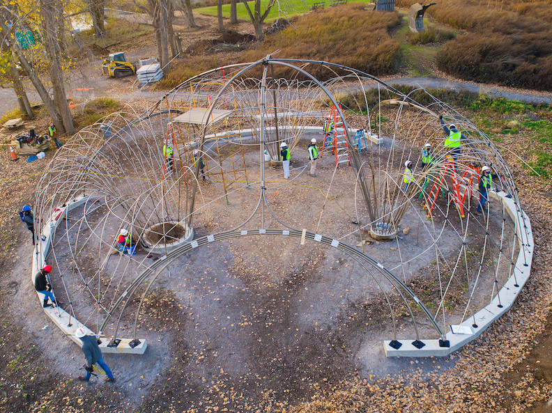 An aerial view of the landscape structure, which measures 60 feet in diameter. (Photo: Mark Adams and Douglas Levere)