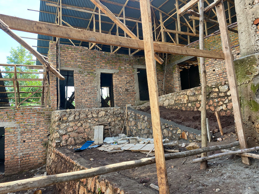 Construction is nearing completion on this facility in the Democratic Republic of the Congo that will serve as an administrative and training space for CPNCK, a coffee cooperative in the Lake Kivu region of the DRC. (Image courtesy of the University at Buffalo)