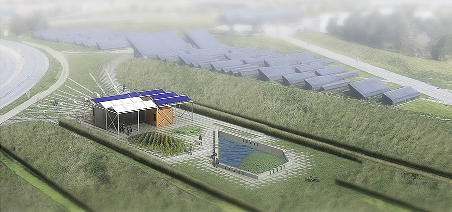 Zhicheng Zhang's plan deftly integrates the GRoW Home into the Solar Strand site. (University at Buffalo photo)