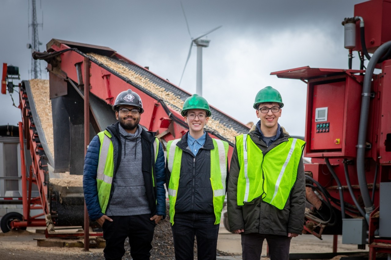 From left: Through a new UB class, UB students Dan Moses, Sean O'Neill and Todd Glosser are partnering with Triad Recycling and Energy to help the company reduce its carbon footprint. Credit: Douglas Levere/University at Buffalo.