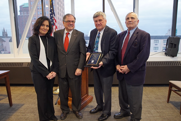 From left: Gina I. Virtuoso, vice chairperson of the NCCC board of trustees; Dr. William Murabito, NCCC interim president; Jerald I. Wolfgang; and William L. Ross, chairman of the NCCC board of trustees.