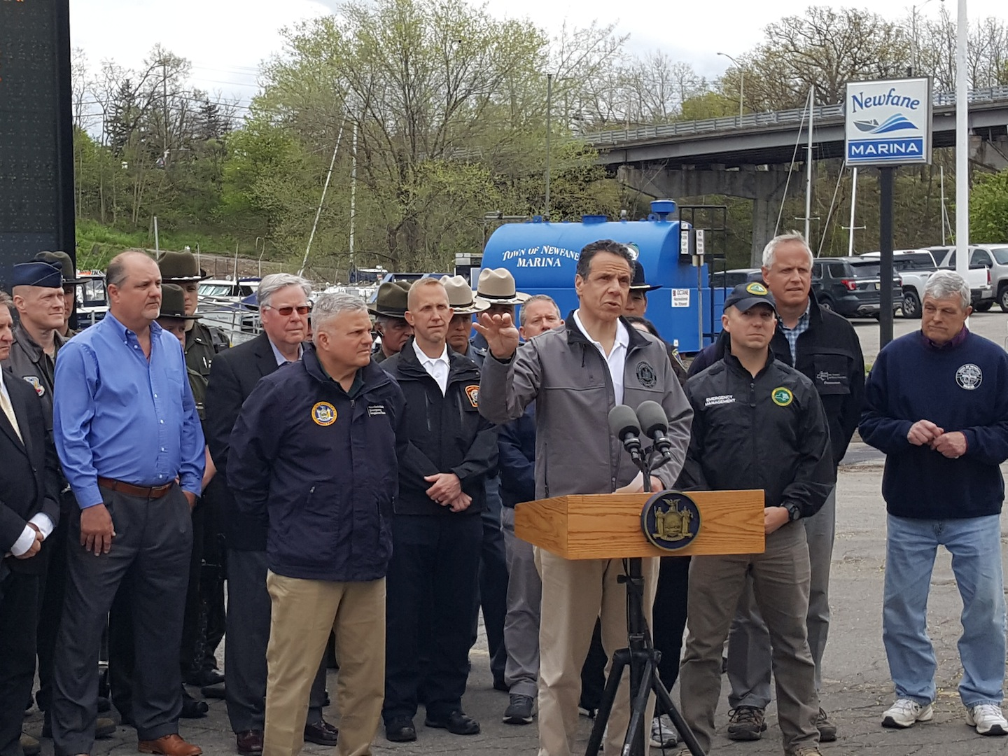 Gov. Andrew Cuomo addresses the media Monday at the Newfane Marina. (Photo by Terry Duffy)