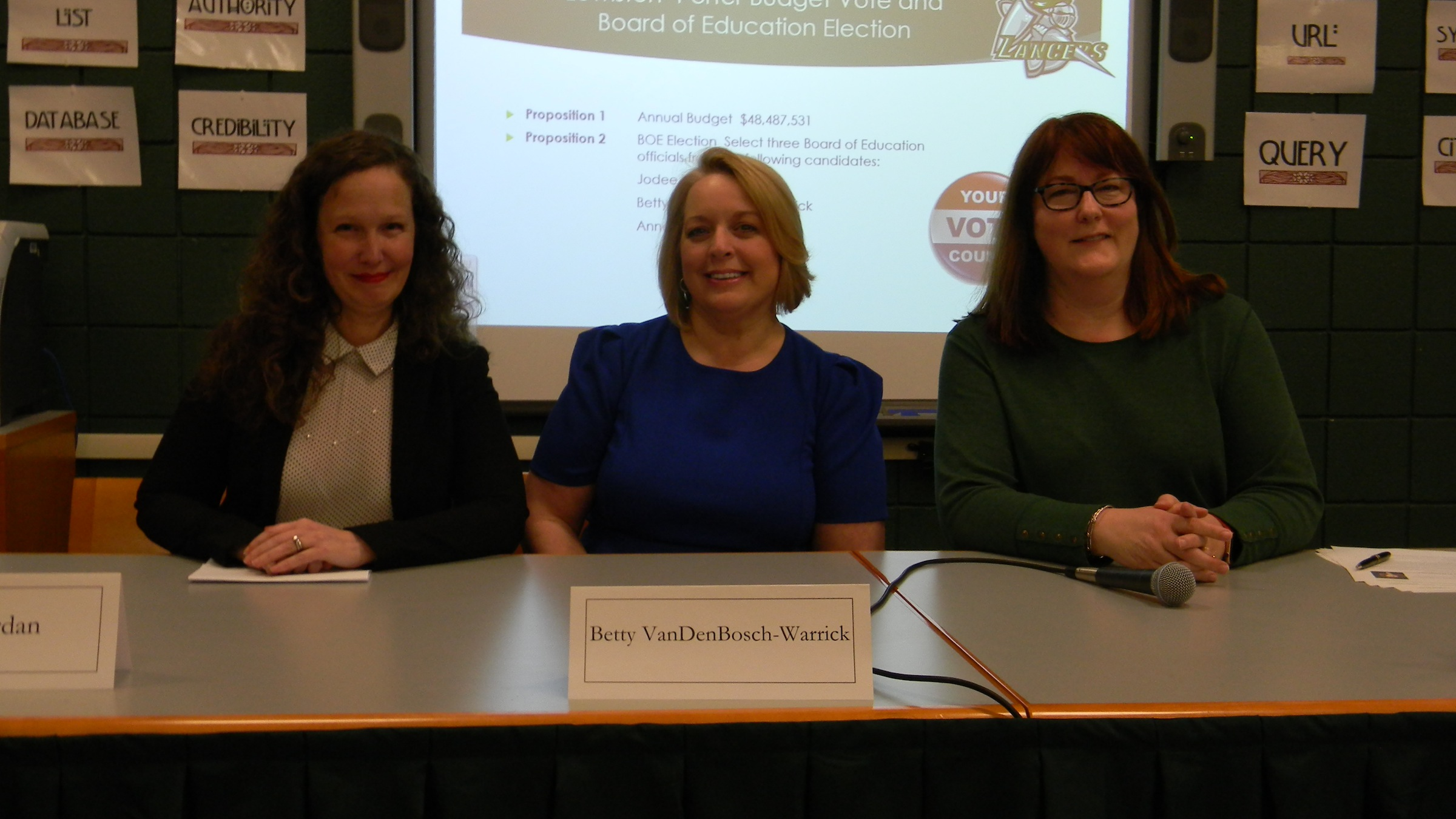 Newly-elected Lewiston-Porter Board of Education members, from left, Jodee Riordan, Betty VanDenBosch-Warrick and Ann Orr. (Photo by Terry Duffy)