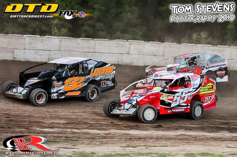 Brandon Michaud (132) leads Greg Martin (4) and Jesse Cotriss (55) in Modified action (Photo by Tom Stevens; courtesy of Ransomville Speedway)