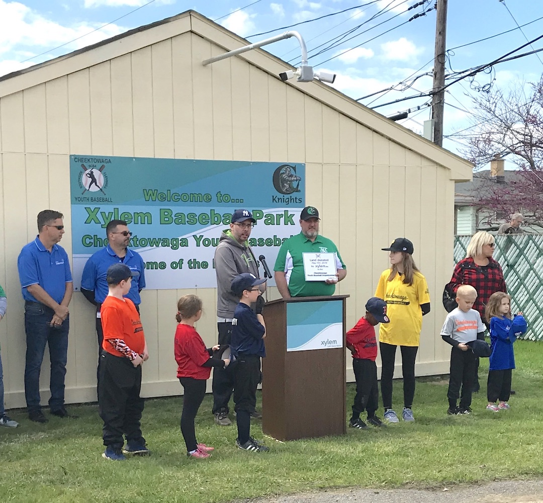 Xylem, a global water technology company, and its corporate citizenship program, Watermark, donated five acres of land to the Cheektowaga Youth Baseball organization during a dedication ceremony May 11 at Xylem Park.