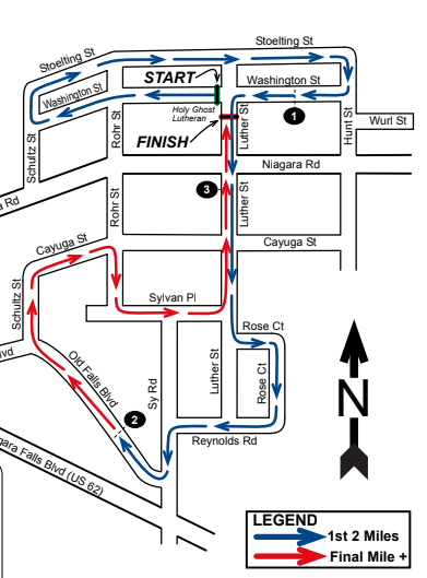 A course map of the Bergholz 5K.