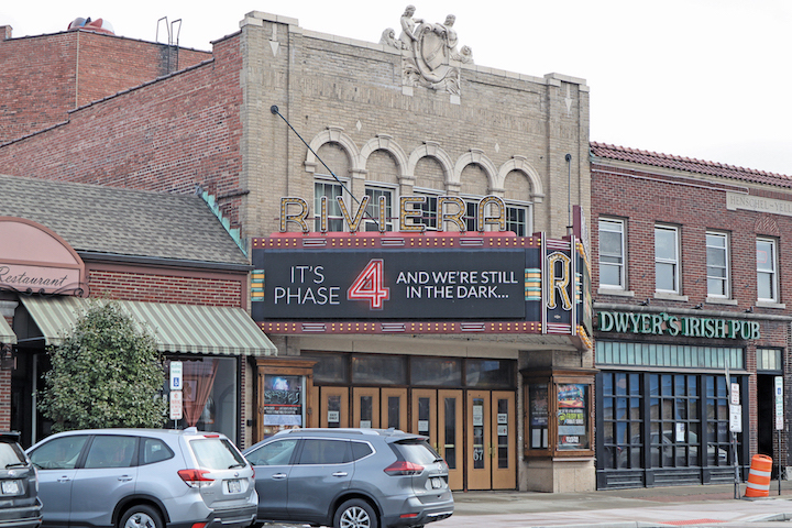 The Historic Riviera Theatre in North Tonawanda has COVID-19 updates - and calls to action - prominently posted on its marquee.