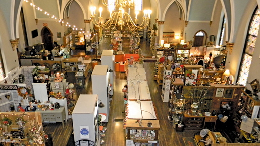 A look into the showroom at the Old Chapel Antique and Artisan Market.