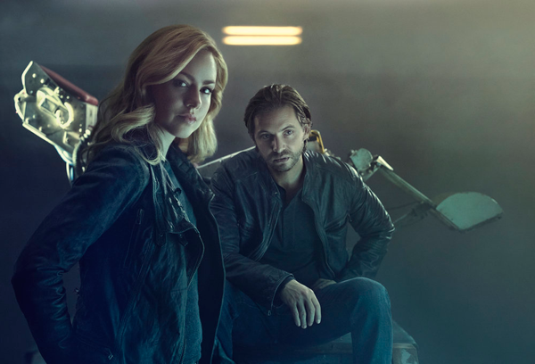 `12 Monkeys`: Pictured, from left: Amanda Schull as Cassandra Railly and Aaron Stanford as James Cole. Season three begins in May. (Syfy photo by Kurt Iswarlenko)