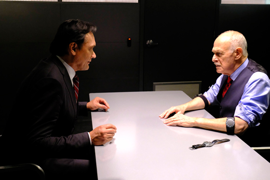 `24: Legacy`: Sen. John Donovan (Jimmy Smits), left, confronts his father, Henry (Gerald McRaney) in the `5:00 PM-6:00 PM` episode. (FOX photo by Guy D'Alema)
